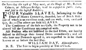Apr 24 1770 - South-Carolina Gazette Supplement Slavery 1