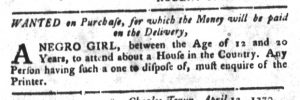 Apr 24 1770 - South-Carolina Gazette and Country Journal Slavery 6