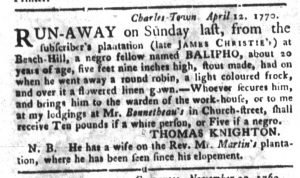 Apr 24 1770 - South-Carolina Gazette and Country Journal Slavery 7
