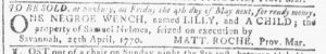 Apr 25 1770 - Georgia Gazette Slavery 2