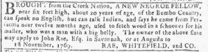 Apr 25 1770 - Georgia Gazette Slavery 5