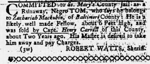 Apr 26 1770 - Maryland Gazette Slavery 3