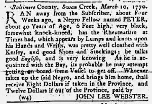 Apr 26 1770 - Maryland Gazette Slavery 4