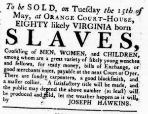 Apr 26 1770 - Virginia Gazette Rind Supplement Slavery 1