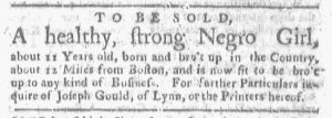 Apr 30 1770 - Boston-Gazette Slavery 1