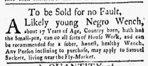 Apr 30 1770 - New-York Gazette and Weekly Mercury Slavery 3