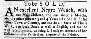 Apr 30 1770 - New-York Gazette and Weekly Mercury Supplement Slavery 1