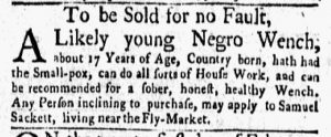 Apr 30 1770 - New-York Gazette and Weekly Mercury Supplement Slavery 4