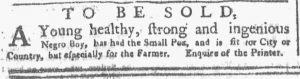 Apr 30 1770 - New-York Gazette or Weekly Post-Boy Slavery 1