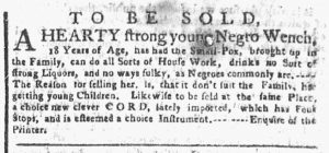 Apr 30 1770 - New-York Gazette or Weekly Post-Boy Slavery 2