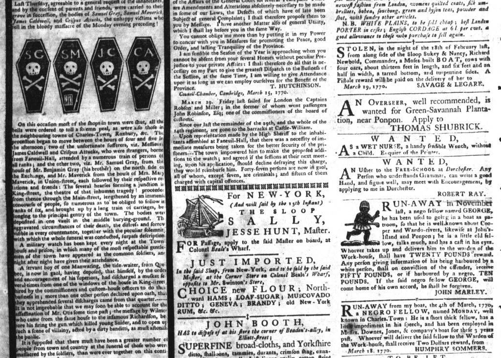 Apr 7 - Boston Massacre in South-Carolina Gazette and Country Journal Supplement