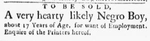 Dec 10 1770 - Boston Evening-Post Slavery 1