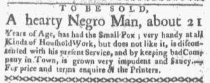 Dec 10 1770 - Boston-Gazette Supplement Slavery 1