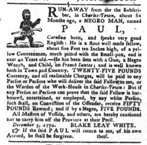 Dec 11 1770 - South-Carolina Gazette and Country Journal Slavery 2