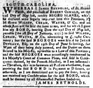 Dec 11 1770 - South-Carolina Gazette and Country Journal Slavery 5
