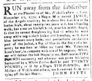 Dec 11 1770 - South-Carolina and American General Gazette Slavery 1