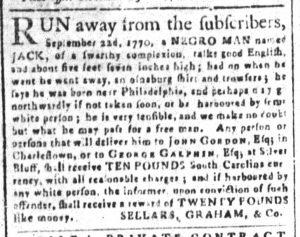 Dec 11 1770 - South-Carolina and American General Gazette Slavery 8