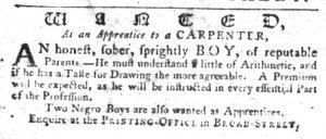 Dec 13 1770 - South-Carolina Gazette Slavery 1