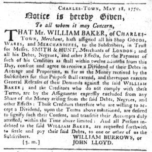 Dec 13 1770 - South-Carolina Gazette Slavery 2