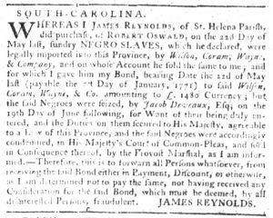 Dec 13 1770 - South-Carolina Gazette Slavery 9