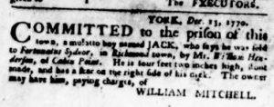 Dec 13 1770 - Virginia Gazette Purdie & Dixon Slavery 3