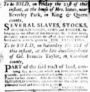 Dec 13 1770 - Virginia Gazette Rind Slavery 1