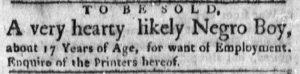 Dec 17 1770 - Boston Evening-Post Slavery 1