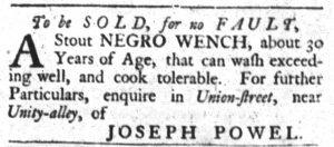 Dec 18 1770 - South-Carolina Gazette and Country Journal Slavery 6