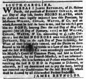 Dec 18 1770 - South-Carolina Gazette and Country Journal Slavery 8