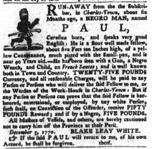 Dec 18 1770 - South-Carolina Gazette and Country Journal Slavery 9