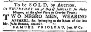 Dec 18 1770 - South-Carolina Gazette and Country Journal Supplement Slavery 1