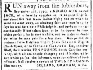 Dec 19 1770 - South-Carolina and American General Gazette Slavery 10