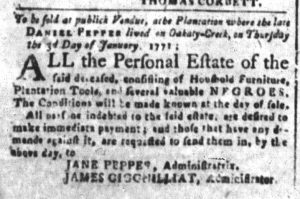 Dec 19 1770 - South-Carolina and American General Gazette Slavery 7