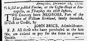 Dec 20 1770 - Maryland Gazette Slavery 1