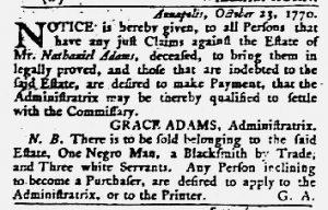 Dec 20 1770 - Maryland Gazette Slavery 4
