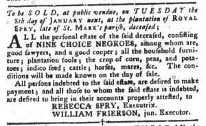 Dec 25 1770 - South-Carolina Gazette and Country Journal Slavery 10