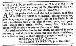 Dec 25 1770 - South-Carolina Gazette and Country Journal Slavery 10