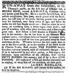 Dec 25 1770 - South-Carolina Gazette and Country Journal Slavery 7