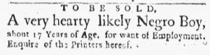 Dec 3 1770 - Boston Evening-Post Slavery 1