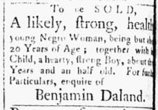 Dec 4 1770 - Essex Gazette Slavery 1