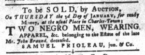 Dec 4 1770 - South-Carolina Gazette and Country Journal Slavery 1