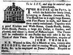 Dec 4 1770 - South-Carolina Gazette and Country Journal Slavery 4