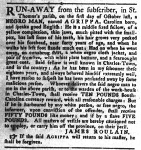 Dec 4 1770 - South-Carolina Gazette and Country Journal Slavery 5
