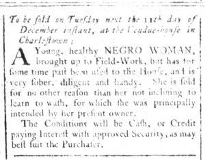 Dec 5 1770 - South-Carolina and American General Gazette Slavery 1