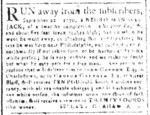 Dec 5 1770 - South-Carolina and American General Gazette Slavery 2