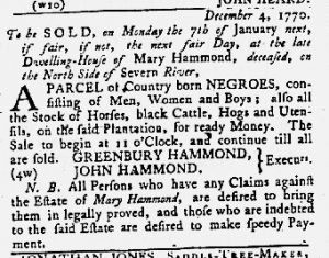Dec 6 1770 - Maryland Gazette Slavery 1