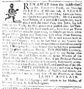 Dec 6 1770 - South-Carolina Gazette Slavery 10