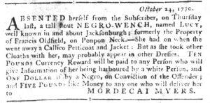 Dec 6 1770 - South-Carolina Gazette Slavery 7