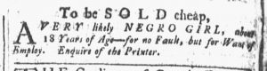 Dec 8 1770 - Providence Gazette Slavery 1