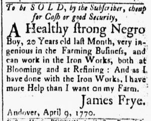May 1 1770 - Essex Gazette Slavery 1